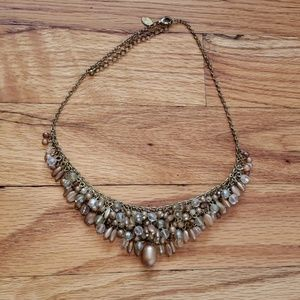Gold Champagne Brown Bead Adjustable Bib Necklace